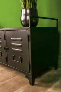 Retro Industrial Factory locker unit Black Metal Cabinet Storage Hallway