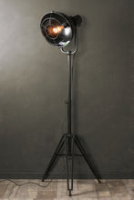 Retro Industrial Style Black Tripod LED Floor Lamp with Caged Light Shade - Whaleycorn