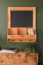 Rustic Chalk Board with Storage Pockets and Hooks Family Notice Board Farmhouse Furniture - Whaleycorn