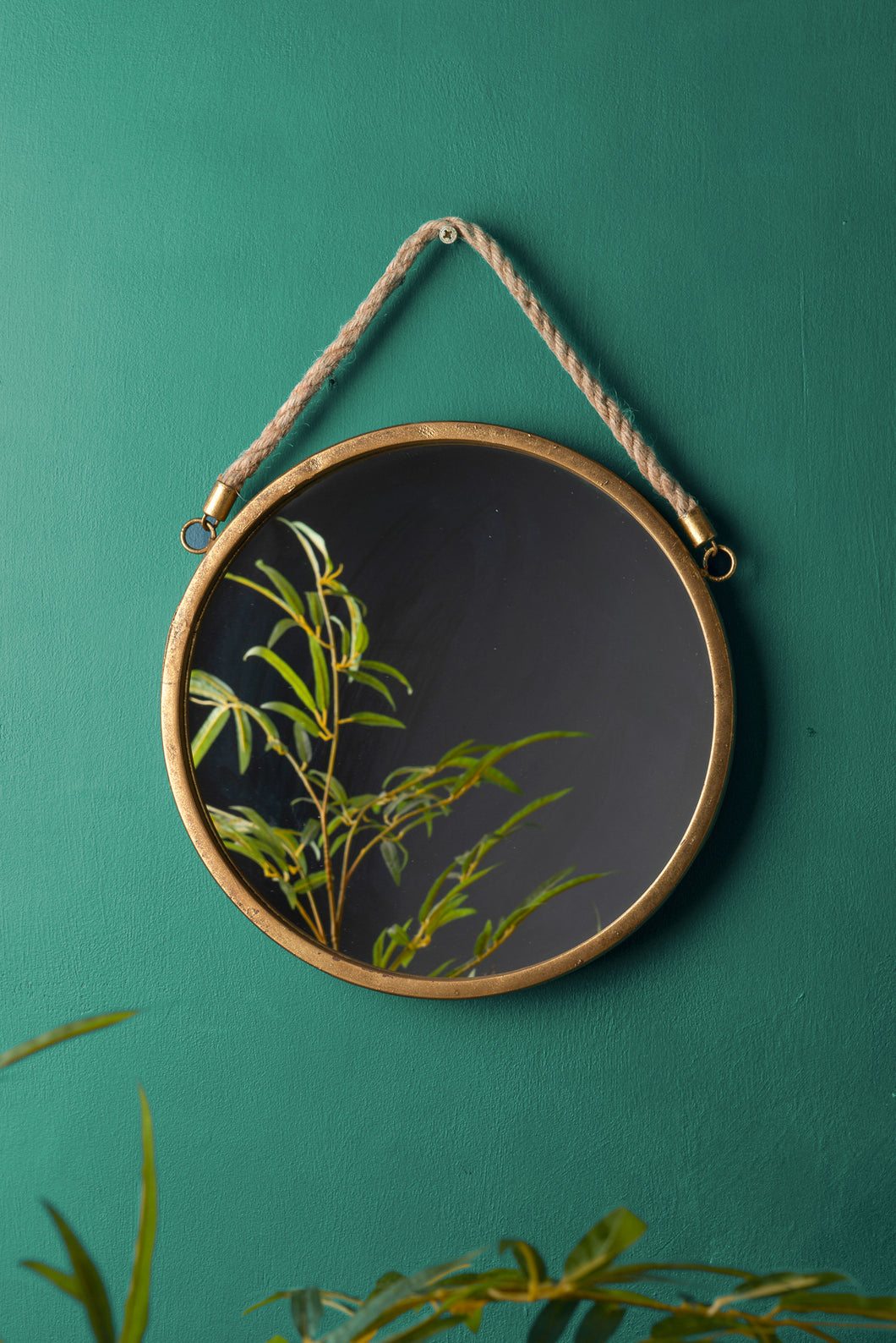 Gold Round Wall Hanging Glass Metal Mirror Hessian Rope Vintage Antique Style - Whaleycorn