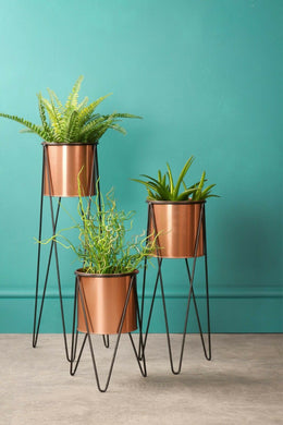 Set of Three Tier Copper Plant Stands Metal Industrial Indoor Outdoor Garden - Whaleycorn