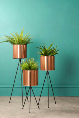 Set of 3 Tier Copper Plant Stands Metal Industrial Indoor Outdoor Garden Nordic - Whaleycorn