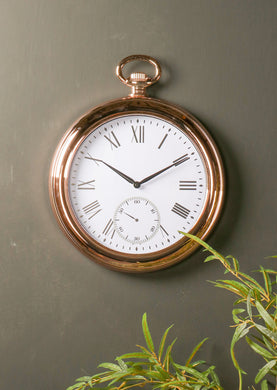 Copper Wall Clock French Vintage Pocket Watch Roman Numeral Rose Gold New - Whaleycorn