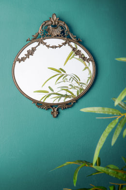 Gold Floral Wall Hanging Glass Metal Mirror French Vintage Ornate Style - Whaleycorn