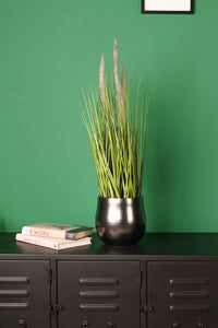 Artificial Foxtail Grass Flowers in Plastic Pot Indoor Outdoor Faux Plants