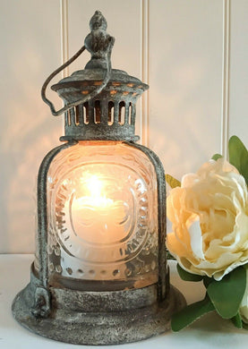 French Vintage Antique Lantern Votive Tea Light Candle Holder Metal Glass