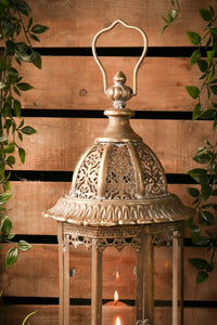 Large French Vintage Lantern Candle Holder Antique Indoor Outdoor Gold Copper - Whaleycorn