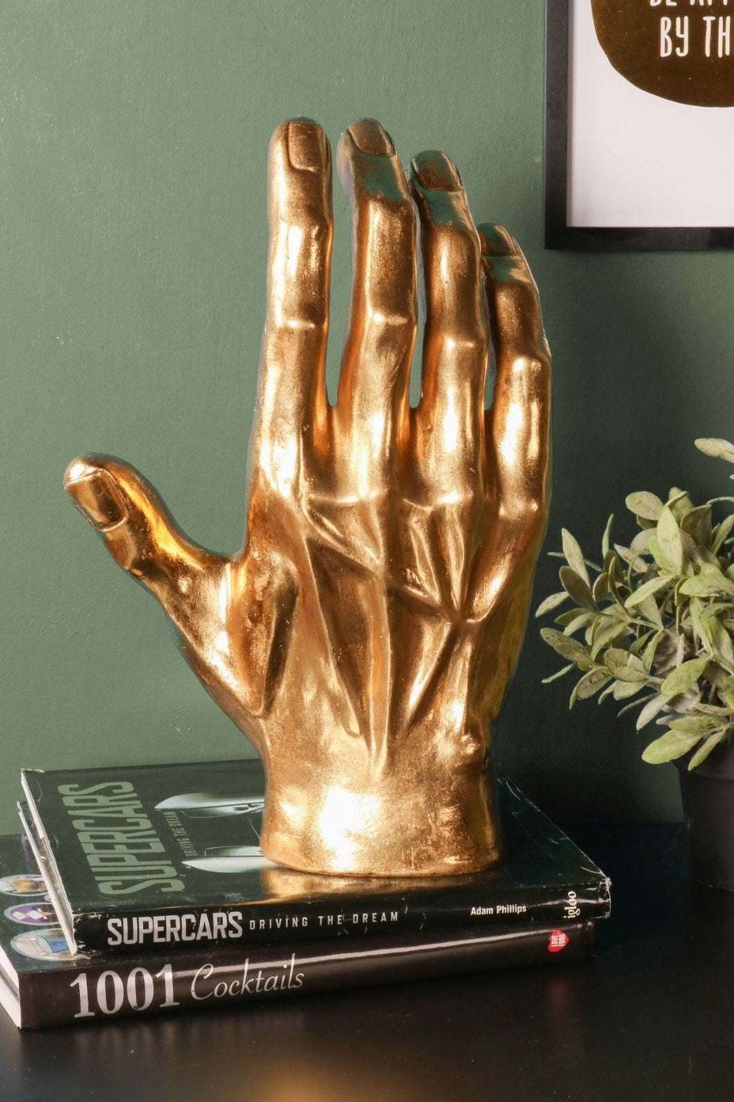 Large Gold Hand Decorative Home Ornament Resin Sculpture Gift - Whaleycorn