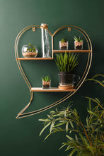 Gold Heart Wall Shelf Shelving Unit Wire Metal Wood Storage Rack Display - Whaleycorn