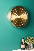 Retro Wall Clock Metal Chrome Gold Glass Polished Battery Operated Vintage - Whaleycorn