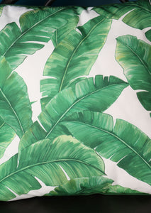 Cushion Green and White Tropical Leaf Design - Whaleycorn