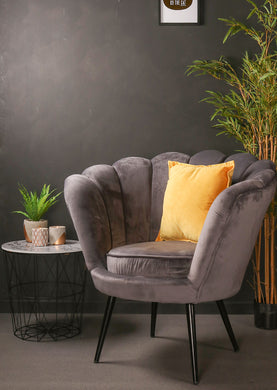Grey Crushed Velvet Fabric Scallop Accent Chair Bedroom Furniture Black Wood Single Luxury … - Whaleycorn