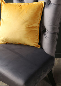 Grey Crushed Velvet Fabric Accent Chair with Black Wooden Legs Bedroom Furniture Seating Living Room - Whaleycorn