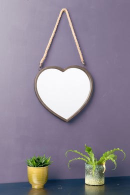 Heart Wall Hanging Mirror Glass Metal Hessian Rope Vintage Industrial Style - Whaleycorn
