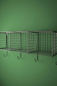 Retro Industrial Style Wire Shelving Wall Shelf Office Storage Rack Coat Hooks - Whaleycorn