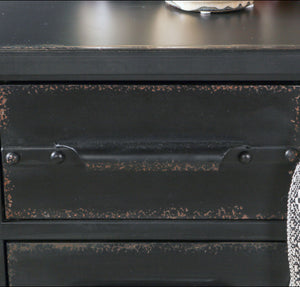 Industrial Style Black Iron Sideboard with Drawers Storage Compartments Home Furniture - Whaleycorn