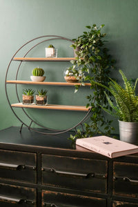 Industrial Style Circle Shelf Black Metal and Wood Standing Round Display Unit - Whaleycorn
