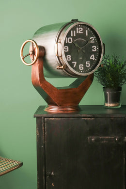 Industrial Style Searchlight Clock Freestanding Distressed Vintage Metal