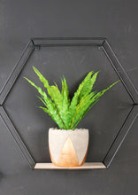Hexagon Wall Shelves Set of Three Industrial Style Metal and Wood Wire Frame - Whaleycorn