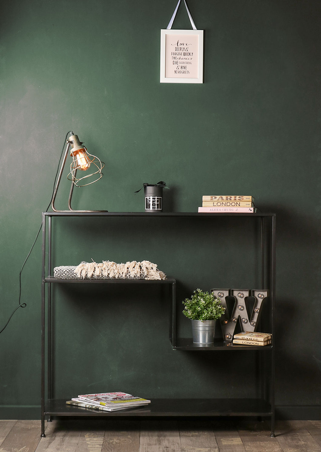Retro Industrial Style Black Metal Shelving Display Unit Home Furniture - Whaleycorn
