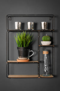 Retro Industrial Style Black Metal Wall Unit with Wooden Shelves Storage - Whaleycorn