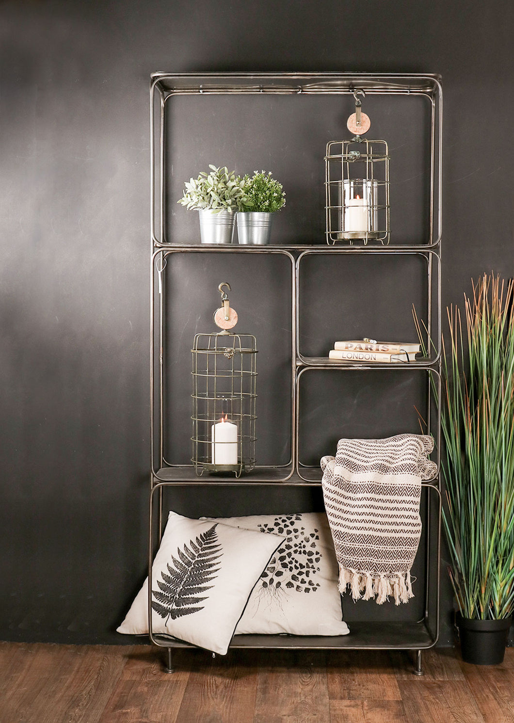Large Industrial Style Shelving Unit Living Room Vintage Shelf Rack - Whaleycorn
