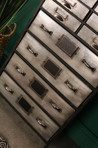 Tall Industrial Style Storage Cabinet Multi Drawer Unit with Wooden Top - Whaleycorn