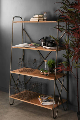 Retro Industrial Style Iron and Wood Shelving Display Unit Home or Shop Furniture - Whaleycorn