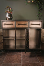 Industrial Style Iron Sideboard with Drawers Storage Compartments Wheels