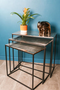 Nest of 3 Coffee Side Tables Cast Aluminium Industrial Style Table Set Black - Whaleycorn