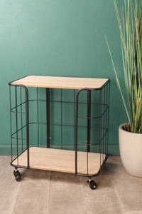 Industrial Style Wheeled Drinks Tea Trolley Black Metal Wood Kitchen - Whaleycorn