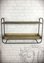 Retro Industrial Style Wall Unit with Shelf and Tray Shelving Display Wood and Metal - Whaleycorn