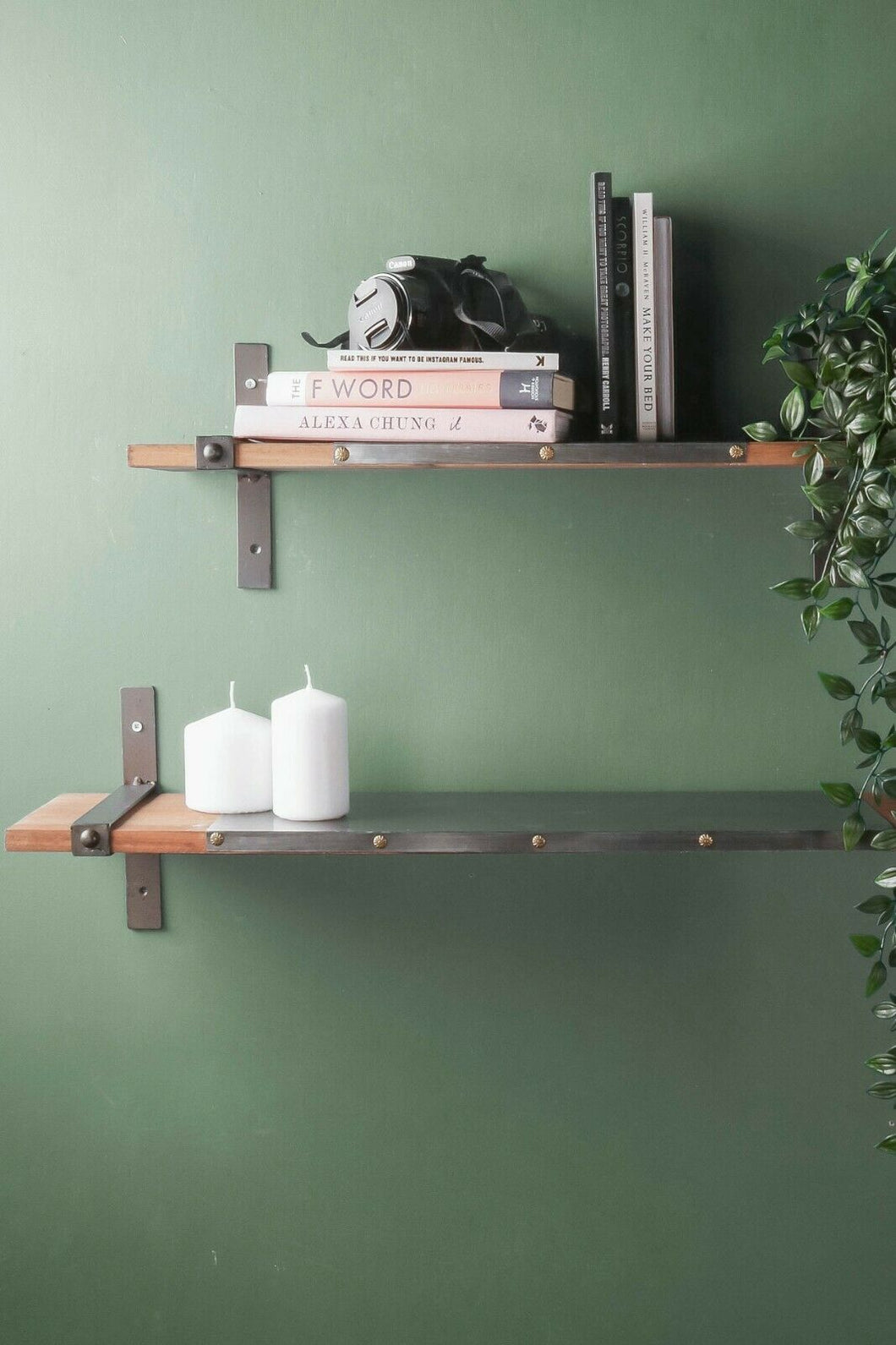 Set of 2 Industrial Style Wood and Metal Wall Shelves Iron Vintage Storage Shelf - Whaleycorn