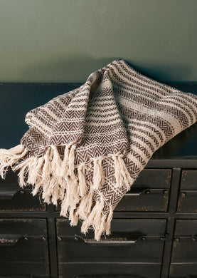 Natural Cotton Patterned Throw with Tassels White and Black - Whaleycorn