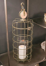Large Iron Cage Lantern Candle Holder Industrial Style with Hanging Hook Vintage - Whaleycorn