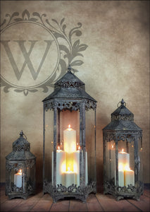 Huge Set of Three Vintage Style Lanterns Ornate French Design Home and Garden Furniture - Whaleycorn