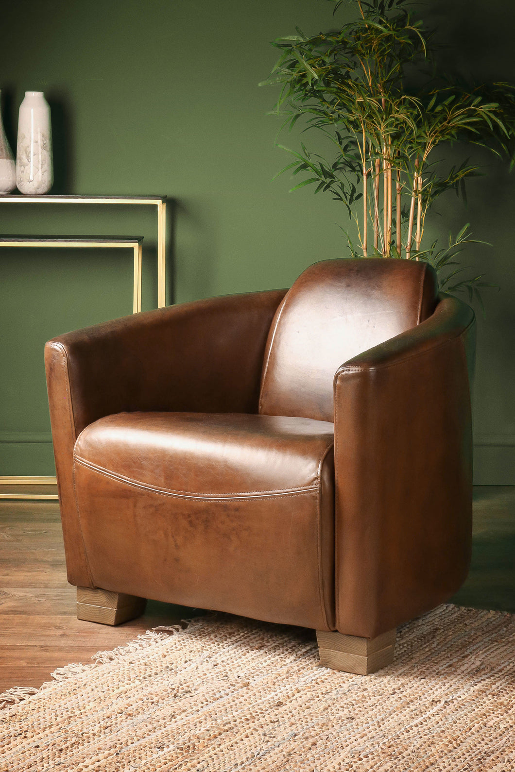 Brazilian Leather Cigar Chair Vintage Club Seat Occasional Chair