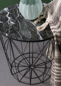 Black Marble Effect Side Wire Table Wood Surface and Metal Frame Storage - Whaleycorn