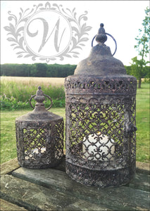 Set of Two Moorish Lanterns Moroccan Candle Holder Rustic Metal Garden Home Accessories - Whaleycorn