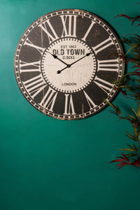 80cm Vintage Style Wooden Wall Clock with Roman Numerals with Distressed Finish - Whaleycorn