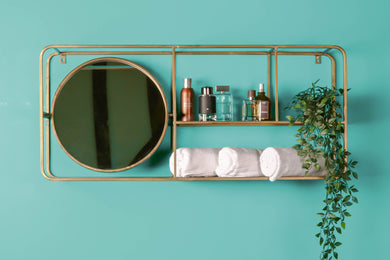 Retro Industrial Style Wall Unit With Mirror Gold Bathroom Shelf