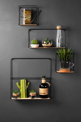 Set of Four Retro Industrial Style Wall Shelves Metal and Wood Display Unit - Whaleycorn