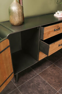 Retro Industrial Style Iron and Wood Sideboard with Drawers and Storage Cupboard Compartments