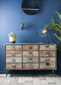Retro Industrial Style Sideboard with Drawers and Cupboard Storage Space - Whaleycorn