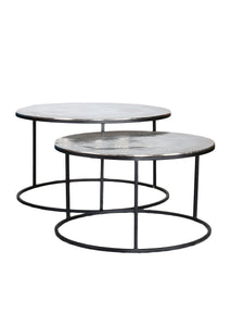 Aluminium Top Coffee Tables Set of Two Black Iron Frame - Whaleycorn