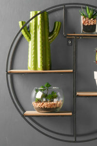 Retro Industrial Style Wall Shelf Black Round Circle Metal and Wood Shelving Unit - Whaleycorn