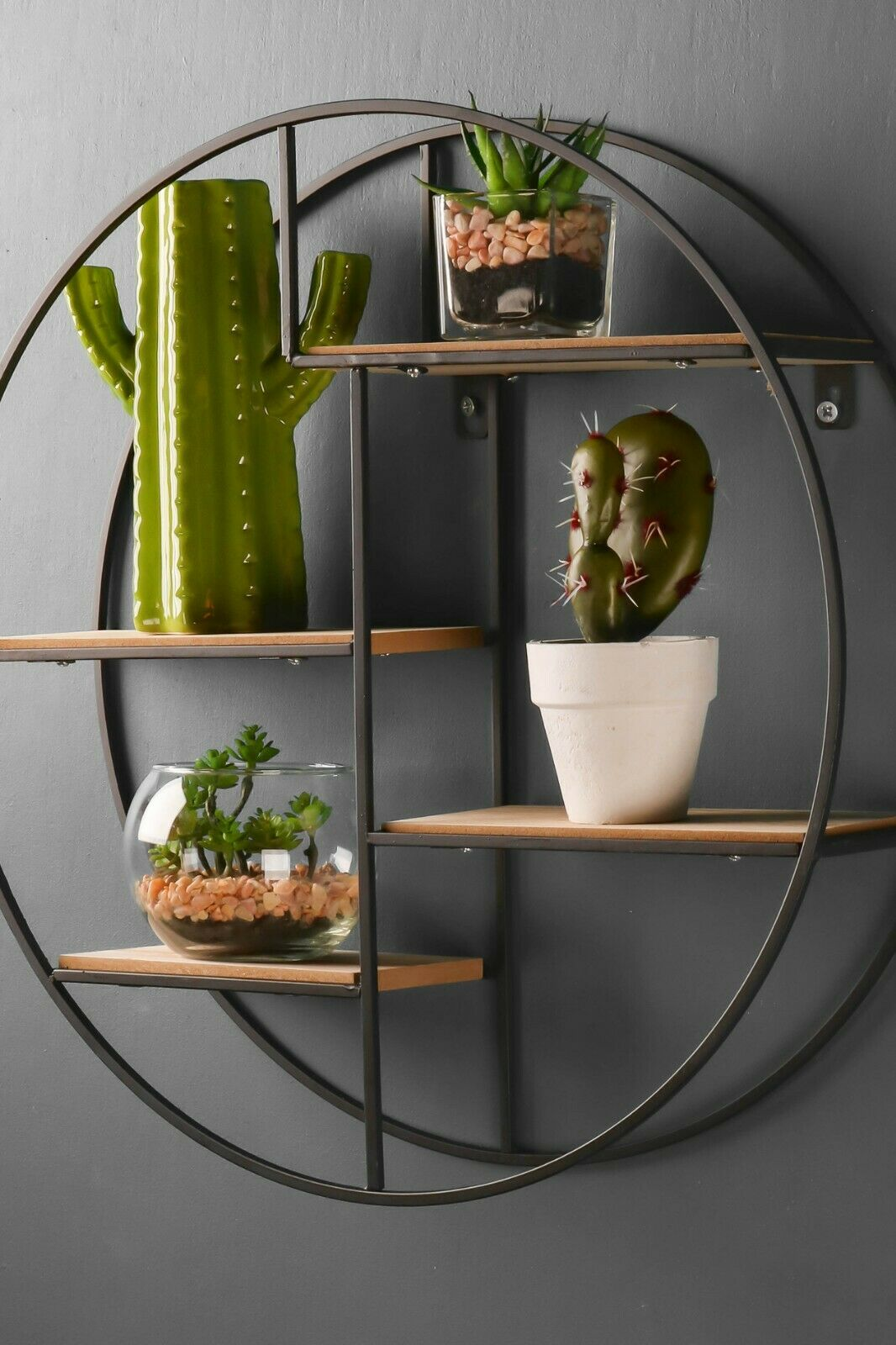Retro Industrial Style Wall Shelf Black Round Circle Metal