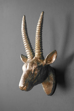 Silver Resin Antelope Head Wall Mounted Display Piece Animal Horns - Whaleycorn