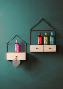 Set of Two House Shape Metal Shelves with Wooden Drawers Wall Display and Storage - Whaleycorn