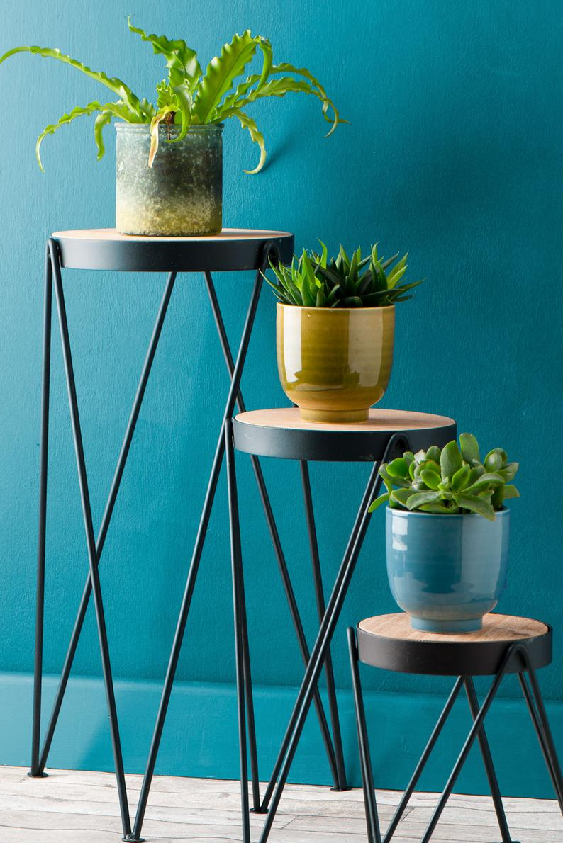 Set Of Three Tier Plant Stands Indoor Outdoor Garden Metal Wood Indust Whaleycorn